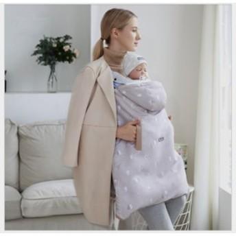 ベビーケープ ケープ 抱っこひもカバー 多機能 防寒カバー 取り外し可能なベビーキャリアカバー ベビーカー用 春秋冬 収納袋付き
