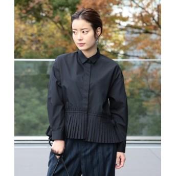 Ray BEAMS / プリーツ キリカエ シャツ レディース カジュアルシャツ BLACK ONE SIZE