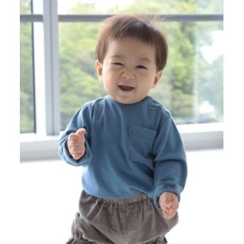 こどもビームス / 天竺 ロング スリーブ ポケット Tシャツ (ユニセックス 80~140cm) キッズ Tシャツ SAX 120