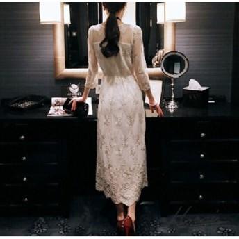ドレス 七分袖 ロング丈 花柄 刺繍 透け感 ワンピース ワンピドレス お呼ばれ 結婚式 二次会 パーティー 【お取り寄せ】