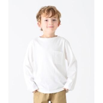 こどもビームス / 天竺 ロング スリーブ ポケット Tシャツ (ユニセックス 80~140cm) キッズ Tシャツ WHITE 90