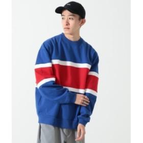 BEAMS / 切替 ロングスリーブ スウェットシャツ メンズ スウェット BLUE M
