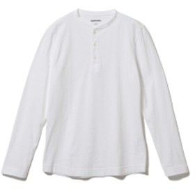 three dots / ロングスリーブ ヘンリーネックカットソー メンズ Tシャツ WHITE/001 L