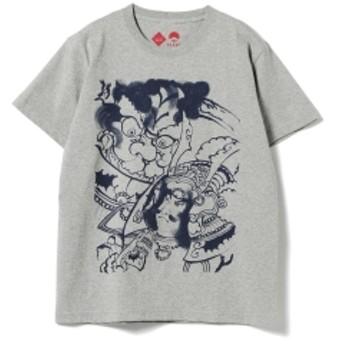 江戸縁起堂 × BEAMS JAPAN / 別注 江戸錦絵 Tシャツ グレー メンズ Tシャツ 頼光 S