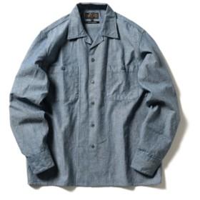 BEAMS PLUS / シャンブレー ミリタリー オープンカラーシャツ メンズ カジュアルシャツ BLUE XL