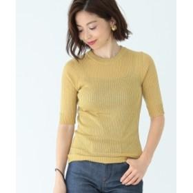 Demi-Luxe BEAMS / ラメリブ 5分袖 ニット レディース ニット・セーター GOLD ONE SIZE