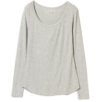 three dots / リブオープンネック ロングスリーブ レディース Tシャツ GREY S