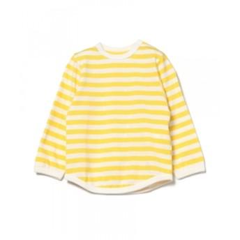こども ビームス こども ビームス / 1cmボーダー 長袖 ベビーTシャツ (80~90cm) キッズ Tシャツ イエロー XS(80-90)