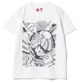 BEAMS JAPAN 江戸縁起堂 × BEAMS JAPAN / 別注 江戸錦絵 Tシャツ モノクロ メンズ Tシャツ 八艘飛び L