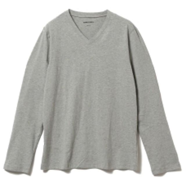 three dots / 別注 ロングスリーブ Vネックカットソー メンズ Tシャツ GRANITE/120 L