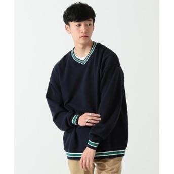 BEAMS / リブライン Vネック スウェットシャツ メンズ スウェット NAVY S