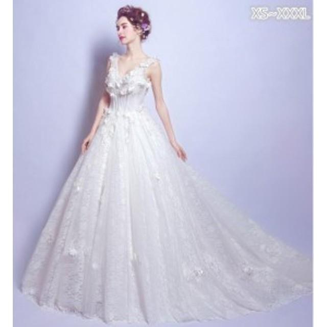 ウェディングドレス ロング トレーン レース 立体フラワー Vネック ノースリーブ 無地 ホワイト Aライン ブライダル結婚式花嫁