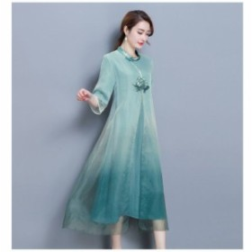 チャイナドレス ワンピース ロング丈 ミモレ丈 七分袖 フレア 刺繍 花柄 ゆったり 体型カバー 春