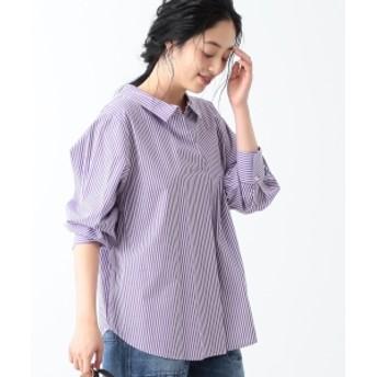 Ray BEAMS / バック ボタン スキッパーシャツ レディース カジュアルシャツ PURPLE STRIPE ONE SIZE
