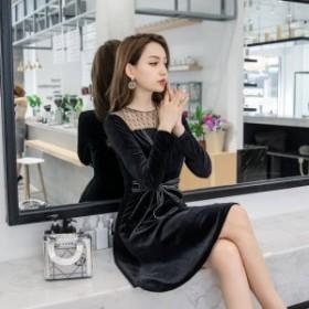 ミニ mini ドレス ミニドレス フレアースカート ワンピース ミニ 韓国 パーティードレス ミニ 膝丈 ドレス 結婚式 お呼ばれドレス 膝丈 2