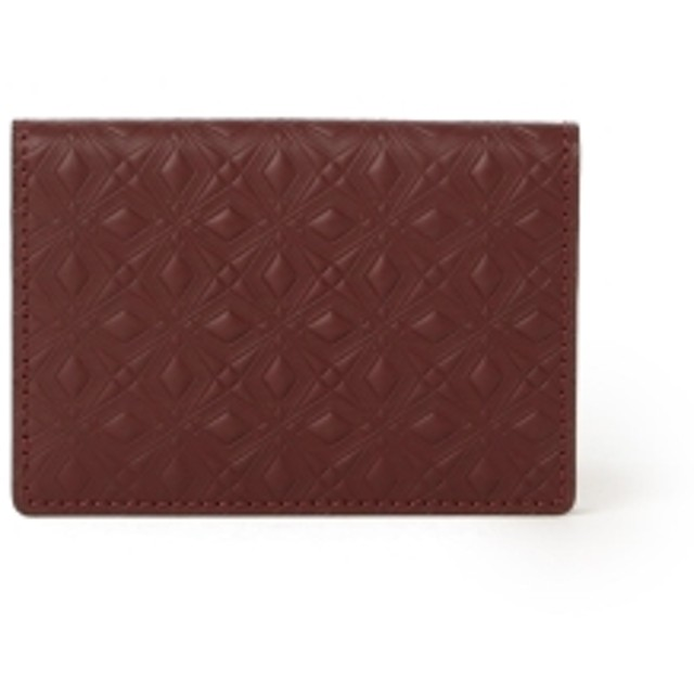 White Mountaineering × PORTER / MARQUETRY PATTERN EMBOSSED LEATHER CARD CASE メンズ 名刺入れ・カードケース BURGUNDY ONE SIZE