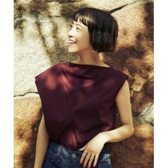 【4/19再値下げ】【洗える】Demi-Luxe BEAMS / スラッシュネック アシメフリル プルオーバー レディース Tシャツ BORDEAUX ONE SIZE