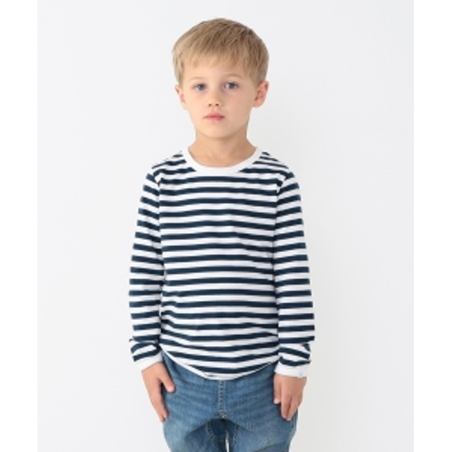 こども ビームス 【予約】こども ビームス / 1cmボーダー 長袖 Tシャツ (ユニセックス95~150cm) キッズ Tシャツ L.NY/WHT XL(140-150)