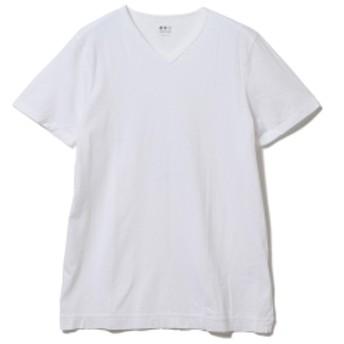 three dots / ショートスリーブ Vネックカットソー メンズ Tシャツ WHITE/001 L