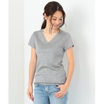 Demi-Luxe BEAMS Demi-Luxe BEAMS / リヨセル ベーシックVネックTシャツ レディース Tシャツ TOP GREY 36