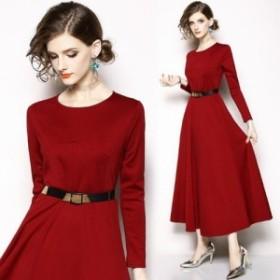 シンプル エレガンス 胸元切り替え デザイン フレア ワンピース ドレス