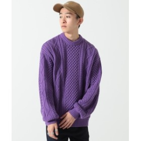 BEAMS / ケーブル編み クルーネックニット メンズ ニット・セーター PURPLE L