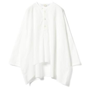 <WOMEN>homspun × fennica / 別注 ビッグシルエット ノーカラー プルオーバーブラウス レディース カジュアルシャツ WHITE ONE SIZE