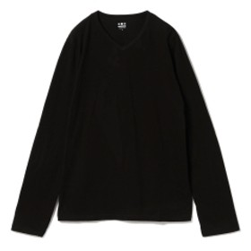 three dots / 別注 ロングスリーブ Vネックカットソー メンズ Tシャツ BLACK L