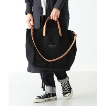 TEMBEA × こども ビームス / 別注 マザートート ロゴ キッズ トートバッグ ブラック/ヌメ革 30×34×20
