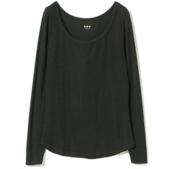 three dots / リブオープンネック ロングスリーブ レディース Tシャツ BLACK S