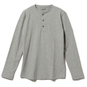 three dots / ロングスリーブ ヘンリーネックカットソー メンズ Tシャツ GRANITE/120 S