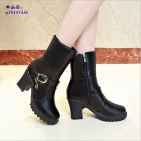ブーツ レディース レディースブーツ 太ヒール 疲れにくい ショートブーツ 厚底 シンプル 歩きやすい 美脚ブーツ