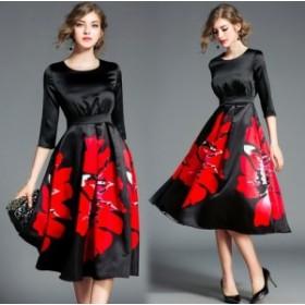 レッド フラワー柄 インパクト 七分袖 ブラック ミディ ドレス