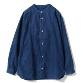 <WOMEN> 宝島染工 × fennica / 別注 フランネル ノーカラーシャツ レディース カジュアルシャツ DARK 2