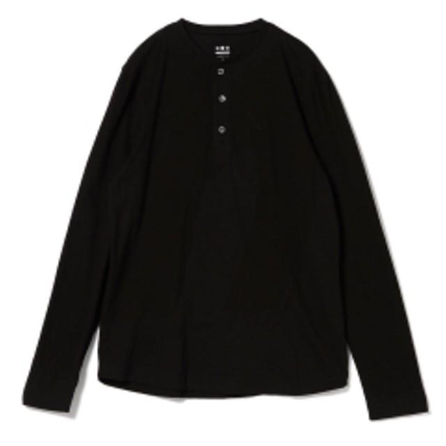 three dots / ロングスリーブ ヘンリーネックカットソー メンズ Tシャツ BLACK S