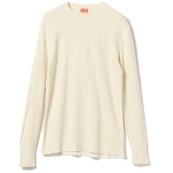 BEAMS PLUS Healthknit / コットンウール サーマルクルー メンズ Tシャツ WHITE/RED M