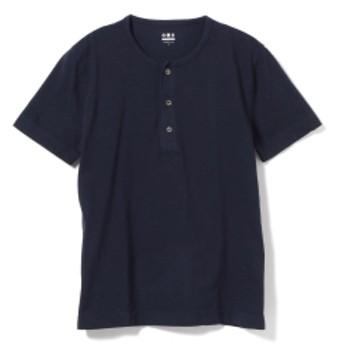 three dots / 別注 ショートスリーブ ヘンリーネックTシャツ メンズ カットソー NIGHT IRIS/781 M