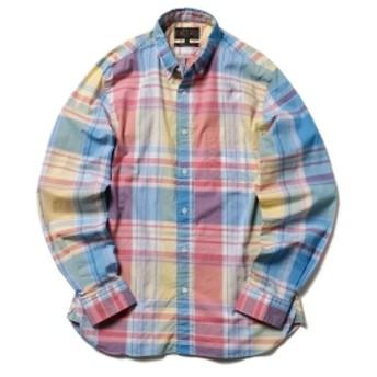 BEAMS PLUS / ビッグチェック ボタンダウンシャツ メンズ カジュアルシャツ SAX/YELLOW S