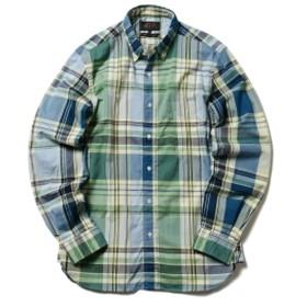 BEAMS PLUS / ビッグチェック ボタンダウンシャツ メンズ カジュアルシャツ GREEN/YELLOW XL