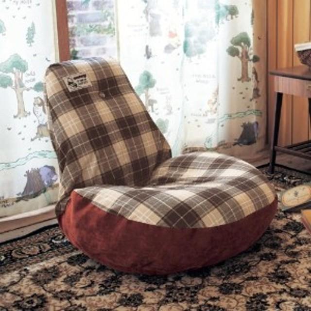 【4月10日まで大型商品送料無料】チェック柄のふわふわ座椅子