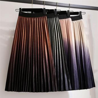 秋と冬 大きいサイズ 韓国 ファッション ins 新品 ベルベット ハイウエスト スカート プリーツスカート