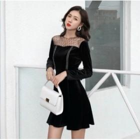 白ライン 装飾 リボン ベルト 黒ベロア フレア ワンピース ドレス