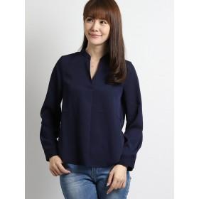 シャツ - TAKA-Q マオカラー長袖タックシャツ