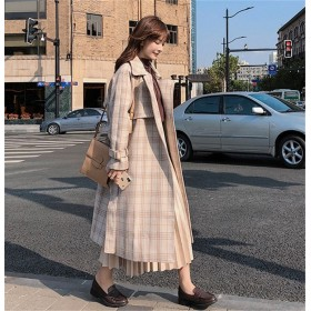 2018秋冬新作/韓国ファッション/格子縞/大人気/中・長セクション/ウールコート/学生