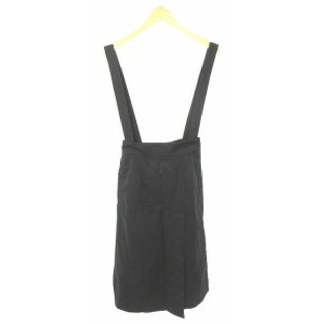 【中古】アースミュージック&エコロジー Premium Label スカート サロペット ロング マキシ F 黒 ブラック レディース