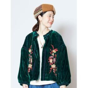 【チャイハネ】花刺繍ベロアショートジャケット ブルゾン グリーン