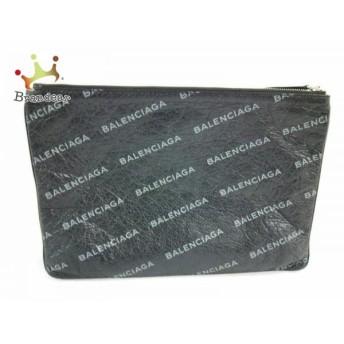 バレンシアガ BALENCIAGA クラッチバッグ - 506794 黒×グレー レザー 値下げ 20190110