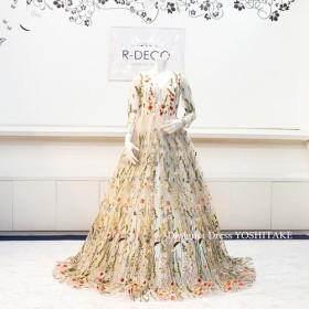 ac28782c76363 ウエディングドレス(Aラインパニエ無料) フラワーアップリケレースドレス 披露宴 二次会