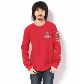 アヴィレックス ビッグワッフル Tシャツ USネイビー/BIG WAFFLE T SHIRT U.S.NAVY メンズ RED XXL 【AVIREX】