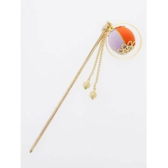 【カヤ】重ね手鞠かんざし オレンジ